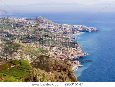 Aerial View Of Funchal, The Capital Of Madeira Island, Portugal, As Seen From Cabo Girao Skywalk Vie