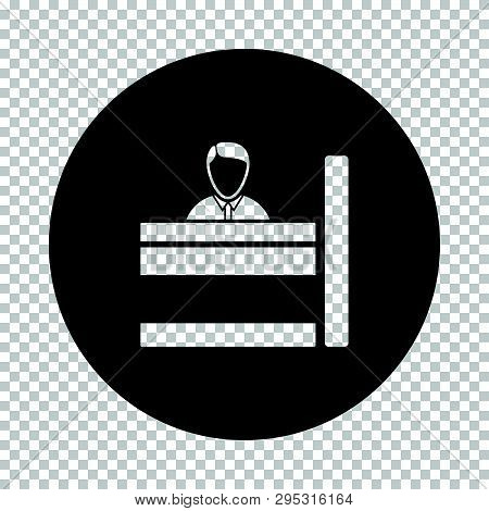 Bank Clerk Icon. Subtract Stencil Design On Tranparency Grid. Vector Illustration.