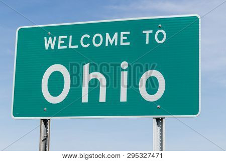 Welcome To Ohio Sign Along An Interstate Highway I