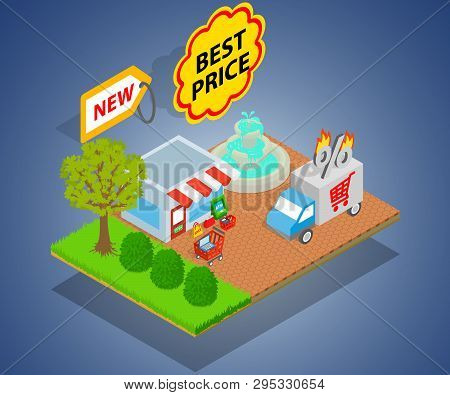 Best Price Concept Banner. Isometric Banner Of Best Price Concept For Web, Giftcard And Postcard