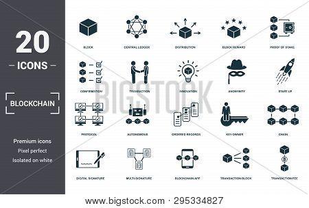 Blockchain Set Icons Collection. Includes Simple Elements Such As Block, Central Ledger, Distributio