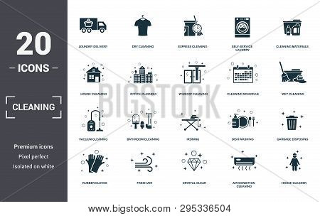 Cleaning Set Icons Collection. Includes Simple Elements Such As Loundry Delivery, Dry Cleaning, Expr