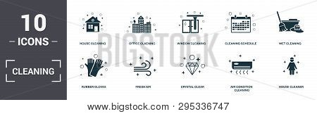 Cleaning Set Icons Collection. Includes Simple Elements Such As House Cleaning, Office Cleaning, Win