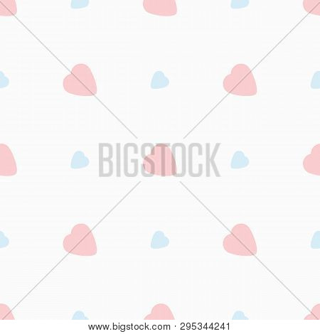 Romantic Seamless Pattern With Hearts. Cute Pastel Print. Simple Vector Illustration.