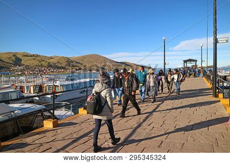 Port Of Puno, Where People Access To The Uros Floating Island From The Town Of Puno, Peru, 29th Apri