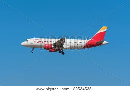 Madrid, Spain - May 22, 2017: Iberia Express Airbus 320 Is Landing In Madrid Barajas Airport On May