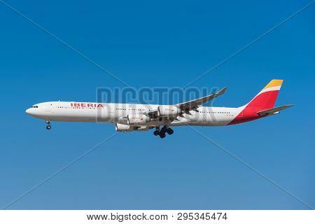 Madrid, Spain - May 22, 2017: Iberia Airbus 340-600 Is Landing In Madrid Barajas Airport On May 22,