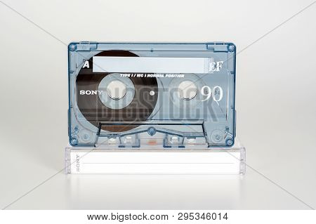 Prague, Czech Republic - February 20, 2019: Audio Compact Cassette Sony Ef 90 Normal Position With P
