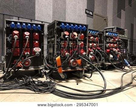 Electric Power Distribution Boxes With Power And Signal Cables. Installation Of Professional Equipme