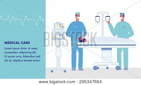 Medical Care Vector Web Banner With Text Space. Surgeons In Operating Room. Unconscious Patient On B