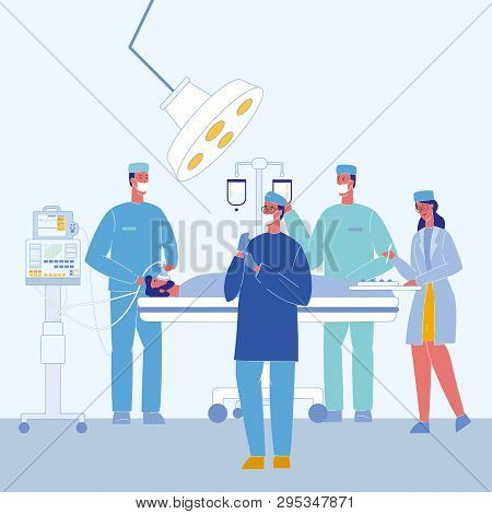 Surgeons In Operating Room Vector Illustration. Unconscious Patient On Bed. Surgical Lamp. Doctors C