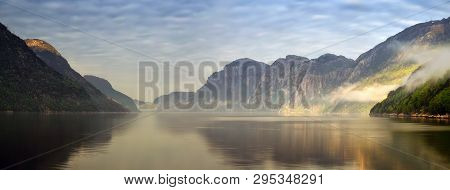 Sunset In Songesand At Lysefjorden With Mountains In Background, Norway