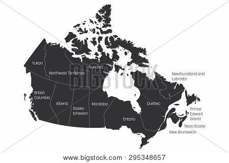 Map Of Canada With Labels.Map Canada Divided Vector Photo Free Trial Bigstock