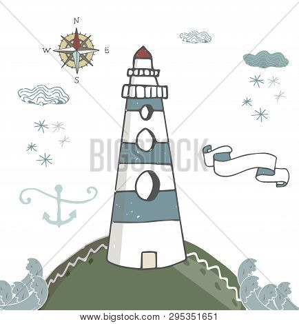 Lighthouse Blue Ribbon Anchor Kompas Lighthouse White Beacon, Windows Pharos, Screed, Seamark Snowfl