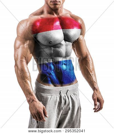 Torso Of Shirtless Muscular Man With Nederlands Flag Painted On Naked Chest, Isolated On White In St