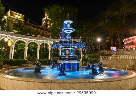 Philharmonic Fountain Park Near The Old City In Baku, Azerbaijan.