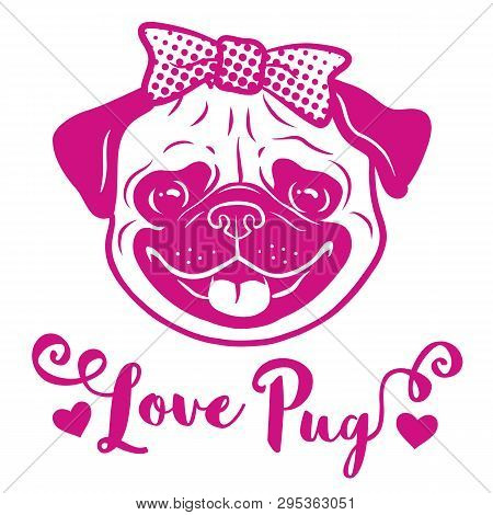 Pug Dog With Bow On Head Pink Hand Drawn Cartoon Portrait With