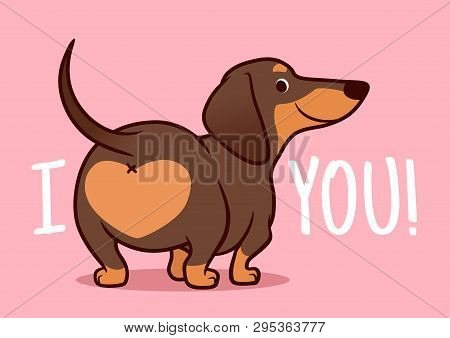 Cute Smiling Dachshund Puppy Dog Vector Cartoon Illustration Isolated On Pink Background. Funny
