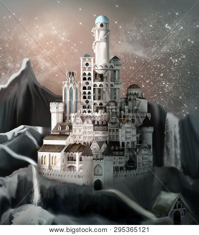 Enchanted Stronghold In A Fantasy Space Kingdom - 3d Illustration
