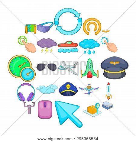 Aeronautical Icons Set. Cartoon Set Of 25 Aeronautical Icons For Web Isolated On White Background