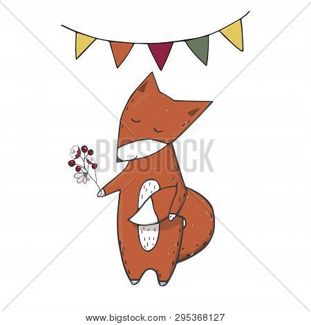 Red Fox Clings To Tail Character Clip Art Vector Forest Animal Face Smile Full Ribbon Cute Wildlife