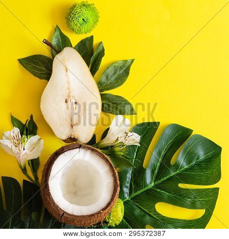 Summer Tropical Theme Background Or Template With A Space For A Text, Various Fruits, Green Leaves A