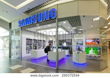 Minsk, Belarus - March 26, 2018: The Samsung Store In The Shopping Mall. Samsung Electronics Co., Lt