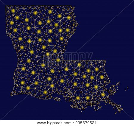 Bright Yellow Mesh Louisiana State Map With Glow Effect. Wire Frame Polygonal Network In Vector Eps1