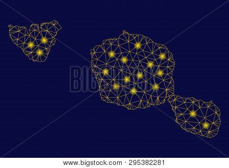 Bright Yellow Mesh Tahiti And Moorea Islands Map With Lightspot Effect. Wire Carcass Triangular Mesh