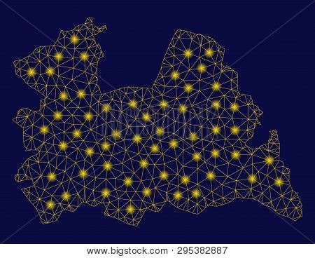 Bright Yellow Mesh Utrecht Province Map With Glare Effect. Wire Frame Triangular Mesh In Vector Eps1