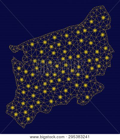 Bright Yellow Mesh West Pomeranian Voivodeship Map With Glare Effect. Wire Frame Triangular Mesh In