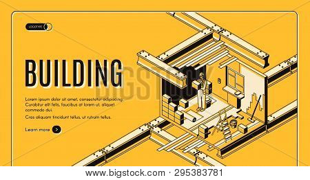 Modern Construction Industry Company Isometric Vector Web Banner Or Landing Page Template With Worke