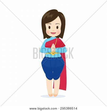 Illustration Thai Women In Thai Traditional Dress, Traditional Southeast Asian Costume, Vector Carto