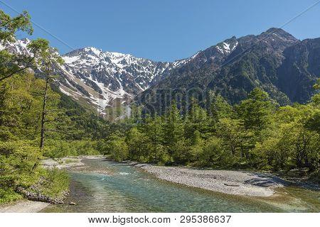 Idyllic Landscape Of Hotaka Mountain Range, Kamikochi National Park, Kamikochi, Japan.