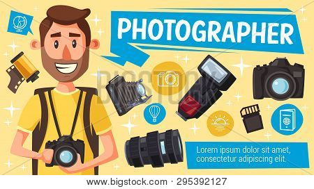 Photographer With Photography Equipment, Digital Camera, Flash And Lens, Memory Card, Vintage Camera