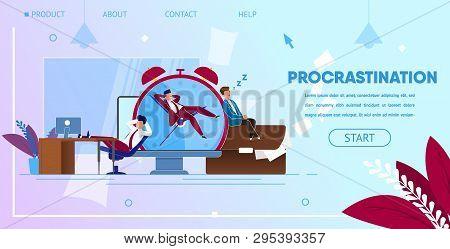 Procrastinating Businessmen Sitting At Workplace With Legs On Office Desk Postponing Work. Procrasti