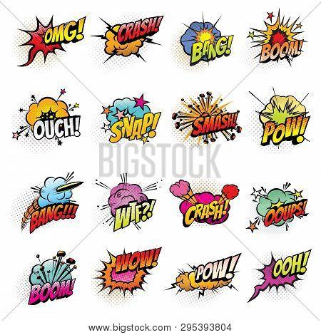 Comics Speech Bubbles Vector Design. Boom And Bang Sound Effects, Pow, Crash And Smash Explosion Clo