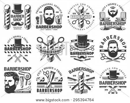 Barbershop Vector Icons Of Hair, Beard And Mustaches Shave Service. Hipster Man Head With Razor Blad