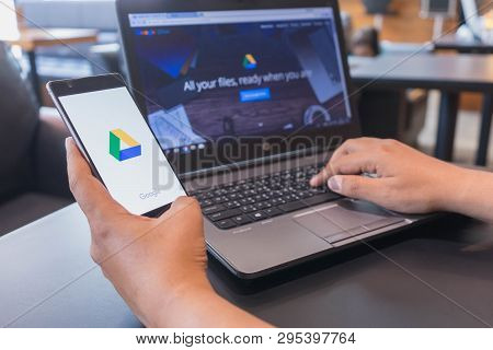 Chiang Mai, Thailand - Mar 18,2018: Man Holding Huawei With Google Drive Apps On Screen. Google Driv