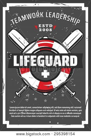 Lifeguard Station Or Tower Retro Vector Poster With Lifebuoy, Nautical Ropes And Paddles. Profession