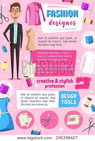 Fashion designer profession vector design of tailoring or sewing service. Tailor or dressmaker occupation poster with needle, thread and scissors, dress and mannequin, craft workshop or atelier studio poster