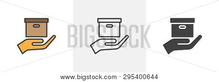 Parcel Delivery Icon. Line, Glyph And Filled Outline Colorful Version, Hand Holding Product Box Outl