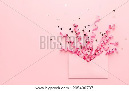 Confetti And Sequins Explosion. Envelope With Festive Streamers On Pink Background. Party Invitation
