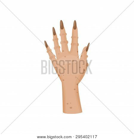 Magic Ghoul Hand On White Background. Vector Illustration.
