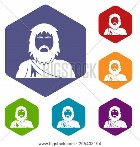 Neanderthal Icons Vector Colorful Hexahedron Set Collection Isolated On White