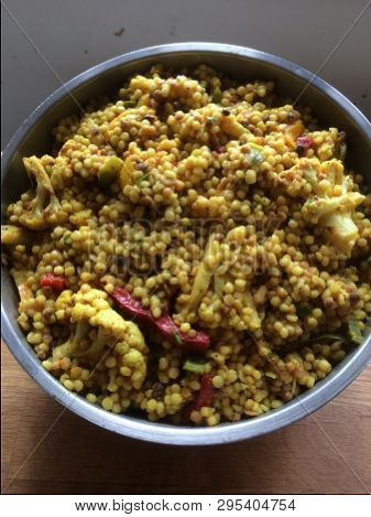 Couscous Salad With Sundry Tomatoes In The Bowl