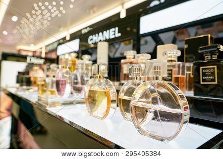 HONG KONG, CHINA - CIRCA FEBRUARY, 2019: Chanel perfumes on display at a shop in Hong Kong International Airport.