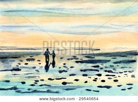 Watercolor Painting of Mother and child walking on Beach