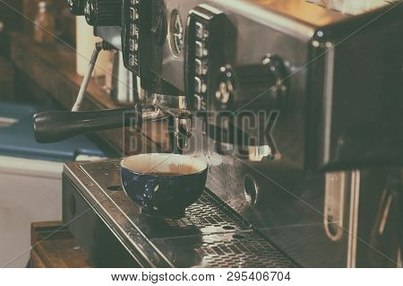 Professional Coffee Machine After Use In The Resturant. Vintage Retro Style Picture Added.