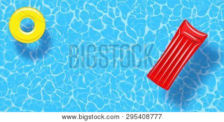 Swimming Pool Top View Background. Rubber Ring And Raft Floating On Water. Colorful Vector Poster Te